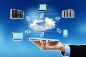 A businessman hand holding and showing the concept of cloud computing internet technology in his hand